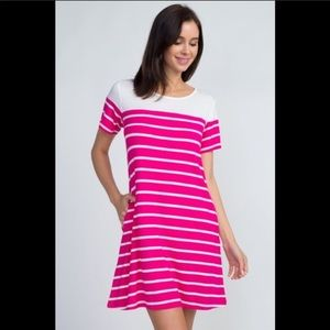 NWT Swing Style 2 Pocket Striped Dress Fuchsia